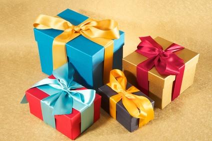 four colour present boxes